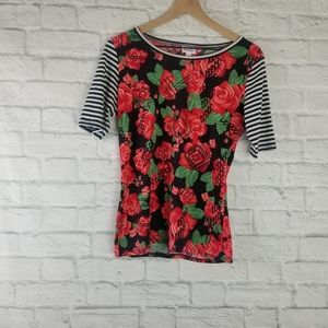 LuLaroe| Rose and Striped Sleeve Randy Tee Size S